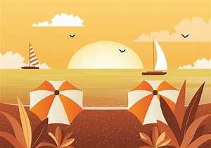 Vector, Beautiful, Seascape, Illustration, 225482
