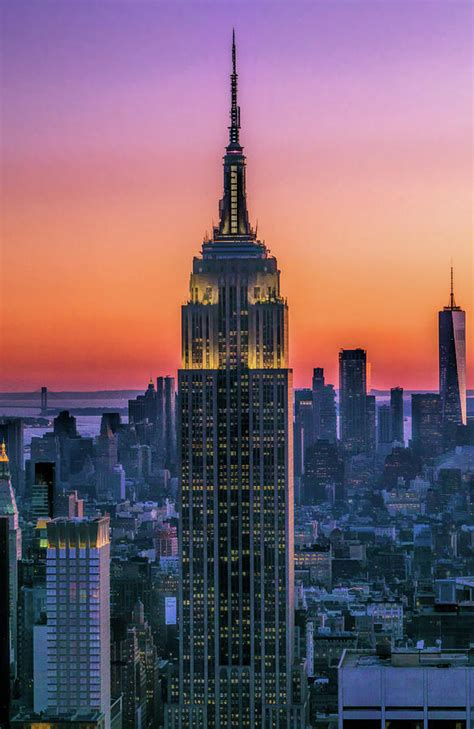 New York City Empire State Building Sunset Painting By