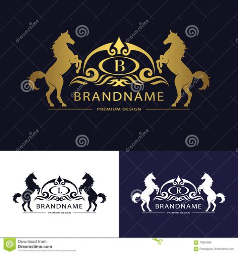monogram logo emblem template  horse graceful luxury design calligraphic letter
