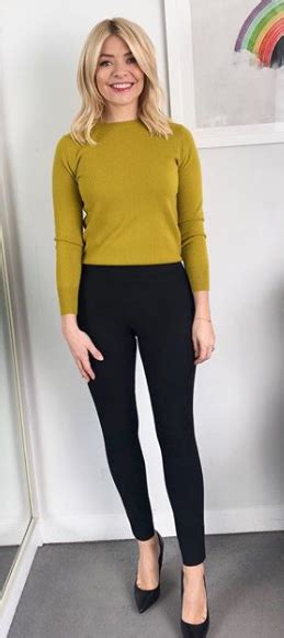 Where does Holly Willoughbyu2019s outfit today come from? The TV presenter wears olive green knitted ...