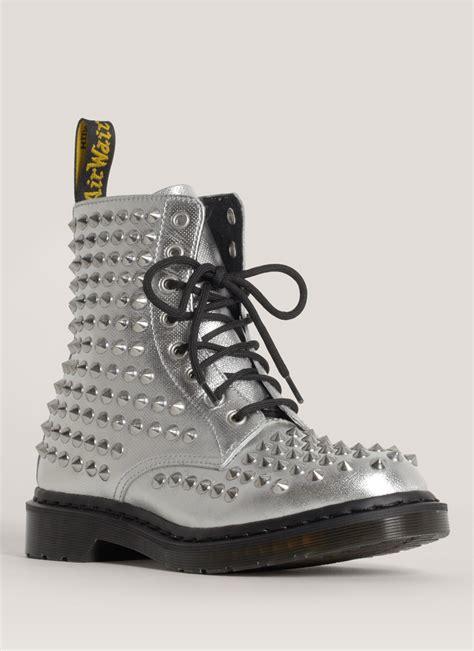 lyst dr martens spike studded metallic boots  metallic