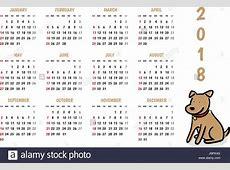 2018 dog new year vector calendar with cute doodle cartoon