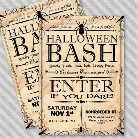 Apothecary Style Halloween Party Invitation Template