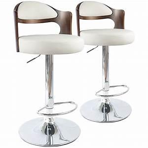 Chaise De Bar : chaises de bar vintage bois noisette blanc lot de 2 pas ~ Farleysfitness.com Idées de Décoration