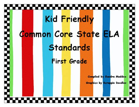 Literacy Minute Kidteacher Friendly Ela Ccss For First Grade Freebie