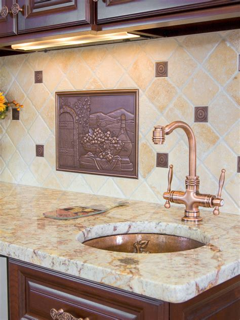 copper backsplash for kitchen travertine backsplashes hgtv 5783