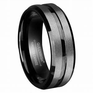 queenwish 8mm mens tungsten wedding bands black silvering With mens wedding rings black tungsten