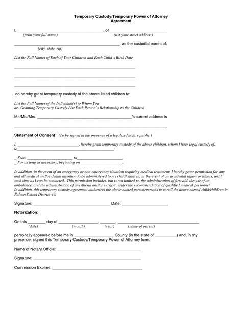 child custody agreement special    temporary