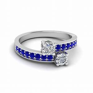 Round cut 2 stone blue sapphire rings in 14k white gold for Wedding rings with sapphire stone