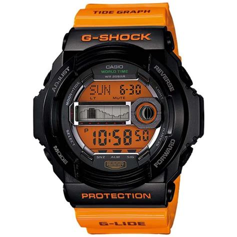 casio  shock  lide tide graph orange resin digital  glx   watchain