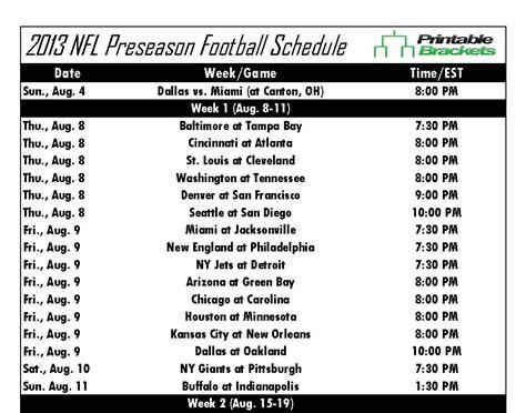 nfl preseason schedule  nfl preseason schedule