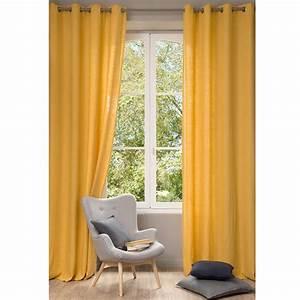 Rideau En Lin Ikea : rideau en lin lav jaune 130 x 300 cm maisons du monde ~ Teatrodelosmanantiales.com Idées de Décoration