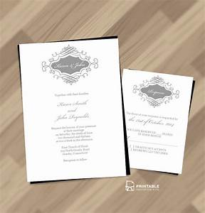 beautiful wedding monogram free invitation and rsvp With printable wedding invitations with pictures