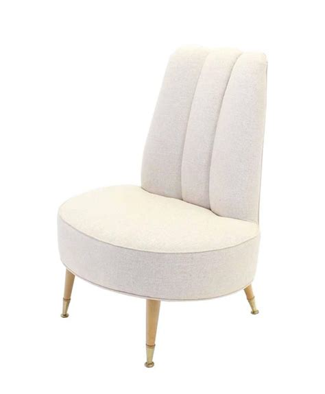 newly upholstered mid century modern slipper chairs for