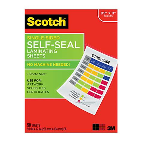 lamination office depot scotch self seal laminating sheets 8 12 x 11 clear pack of 50 by office depot officemax