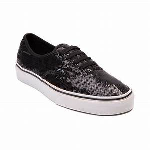 Shop for Vans Authentic Sequined Skate Shoe in Black
