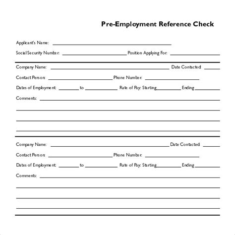 Employment Reference Check Form Template by 15 Reference Check Templates To For Free Sle