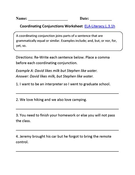 coordinating conjunctions worksheet 1 l 3 1 l 3 1