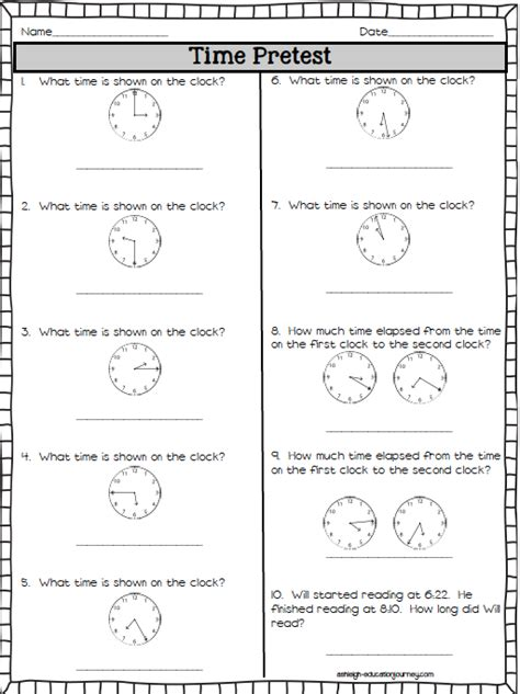 time pretest free math time activities