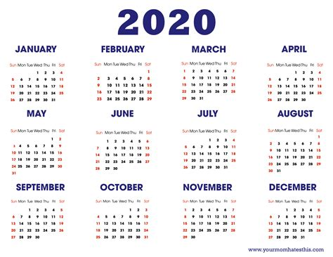 Download and print your favorite today! Download 2020 Calendar Free Templates