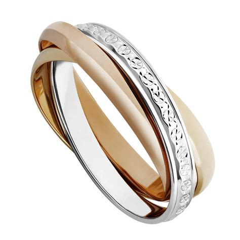 9ct two colour gold sparkle cut russian wedding ring