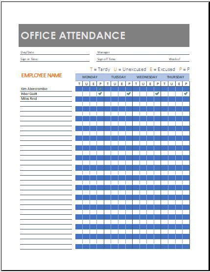 office attendance sheet templates  ms excel word