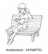 Bench Sitting Vector Clip Reading Coloring Graphics 1000 Clipart Cartoon Adult Psd sketch template
