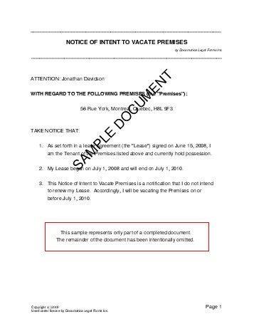 notice  intent  vacate premises canada legal