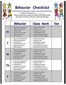 A Behavior Checklist For Common Behavior Issues Met In A