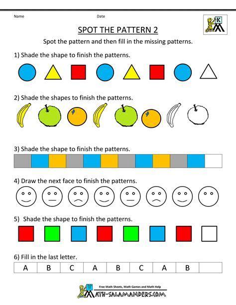 pattern worksheets for kindergarten free kindergarten worksheets spot the patterns