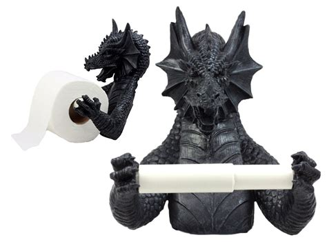 Gothic Wingless Dragon Resin Toilet Paper Holder Awesome