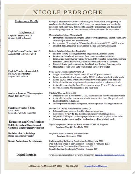 resume highlights for teachers leader mrs pedroche