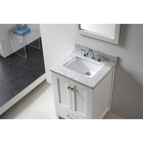transitional 24 inch white bathroom vanity with white
