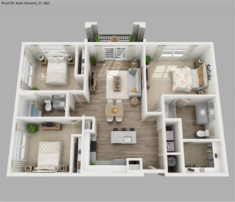 3 Bedroom Apartment House 3d Layout Floor Plans by Three Bedroom Apartment 3d Floor Plans Apartment Layouts