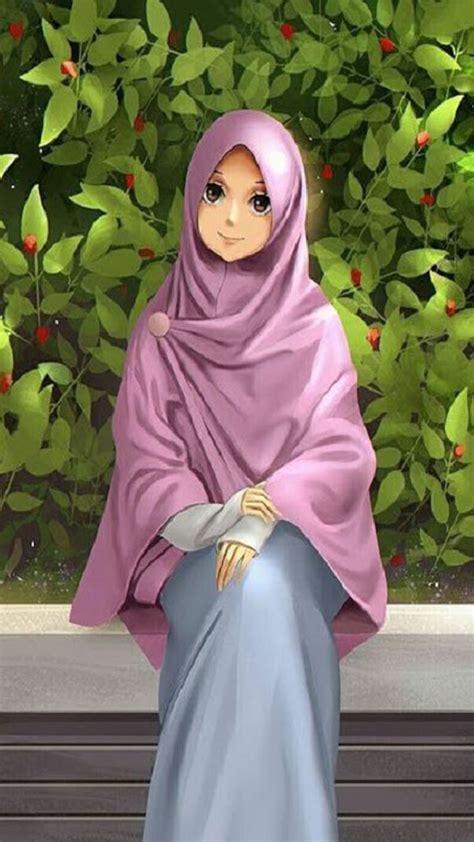 wallpaper kartun muslimah cantik gambar kartun