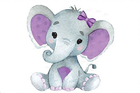 cute baby girl elephant  purple ears  vector jpeg