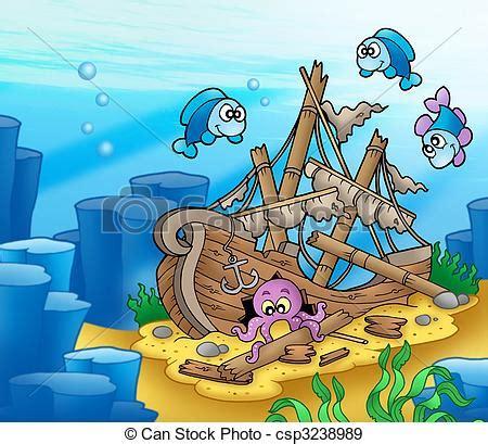 animated wrecked archivio illustrazioni di pesci polpo naufragio