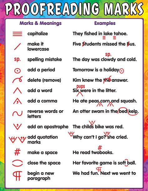 proofreading marks chart tcr teacher created resources
