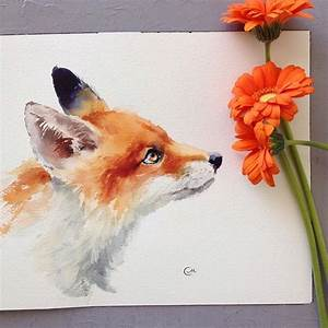 Fox by @cmwatercolors #art #arts #paint #painting #drawing ...