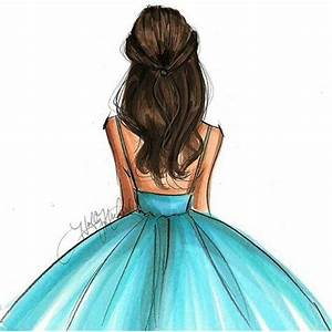 Cute brunette in blue dress drawing | artsyfartsy ...