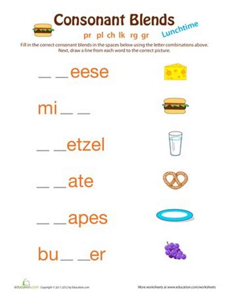 consonant clusters worksheets for grade 3 blends and