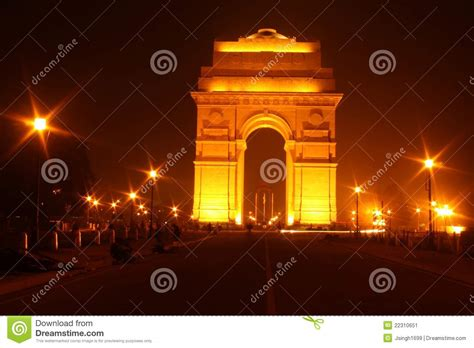 front view india gate  delhi  night stock image