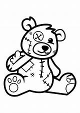 Bear Coloring Pages Doll sketch template