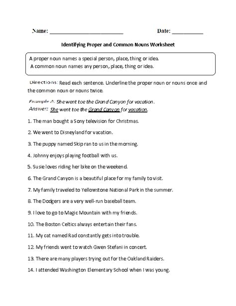 identifying proper and common noun worksheet 6th