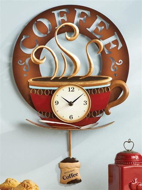 coffee cup theme kitchen wall clock metal home decor