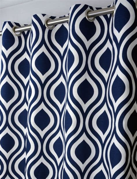 navy geometric pattern curtains 25 quot x 108 quot navy blue and white modern geometric lattice