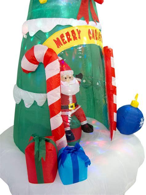 santa sitting in christmas tree illuminated inflatable 2