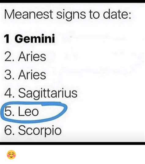 Meanest Memes Meanest Signs To Date 1 Gemini 2 Aries 3 Aries 4
