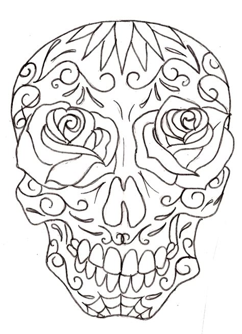 Tattoo Sugar Skulls Coloring Pages for Adults