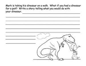 dinosaur story starter worksheet education